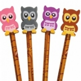 Crayon et gomme hibou Owl pencil and eraser