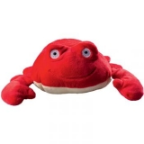 Peluche crabe rouge. Longueur: 17cm. Yeux brodés. Nez brodé. Personnalisation sur etiquette.