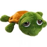 Peluche tortue verte. Longueur: 25cm. Étiquette tissée au dos pour impression. Yeux brodés nez brodé.