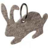 Porte clés lapin gris en feutrine