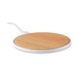 chargeur sans fil rond effet bois