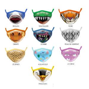 masques de protection sanitaire animaux pour enfants